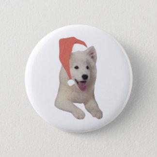 Samoyed Santa Hat Pinback Button