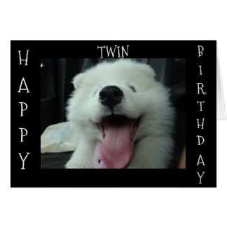 SAMOYED SAYS SAVE ME CAKE/ *TWIN* BIRTHDAY WISH CARD