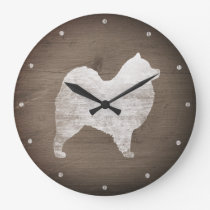 Samoyed Silhouette Rustic Large Clock