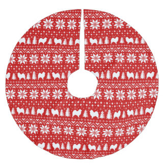 Samoyed Silhouettes Christmas Pattern Red Brushed Polyester Tree Skirt