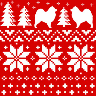 samoyed silhouettes christmas sweater pattern red wrapping paper