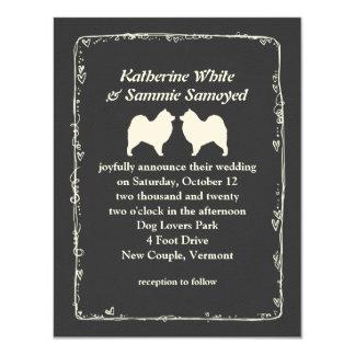 Samoyed Silhouettes Wedding Card