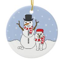 Samoyed & Snowman Ornament