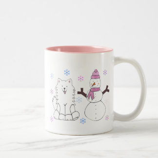 Samoyed & Snowman Two-Tone Coffee Mug