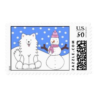 Samoyed Snowy Day Postage