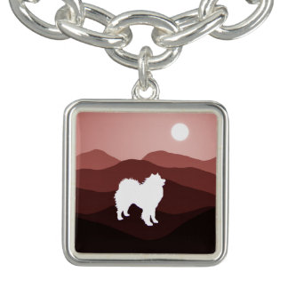 Samoyed Southwest Moutains; Square Charm Bracelet