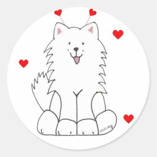 Samoyed Valentine Ears Classic Round Sticker