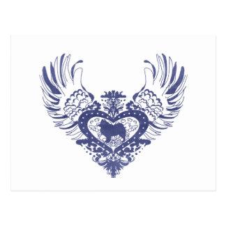 Samoyed Winged Heart Postcard
