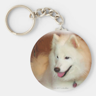 Samoyed, with Digital Oil Painting Effects, key Basic Round Button Keychain