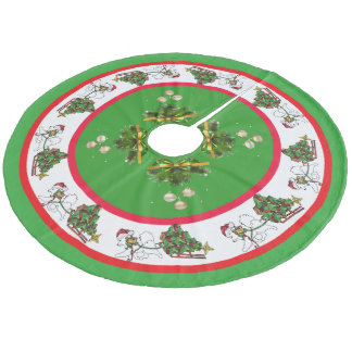 Samoyed with Sled Custom Tree Skirt, Coral Fleece Fleece Tree Skirt