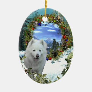 Samoyed  World Double-Sided Oval Ceramic Christmas Ornament