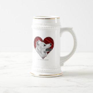Samoyedo con el corazón taza