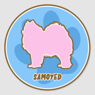 Samoyedo de moda etiquetas redondas