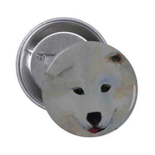 Samoyedo del perrito pin redondo 5 cm