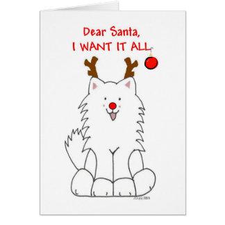 Samoyedo Santa lo quiero toda la tarjeta