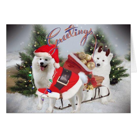 Samoyedo Santa y saludos del ayudante Tarjeta De Felicitación