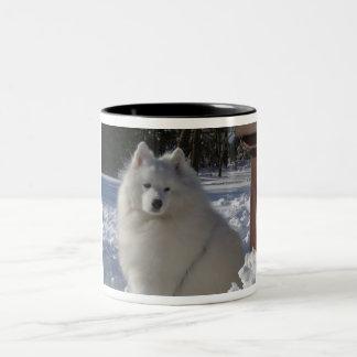 samoyedo taza de café de dos colores