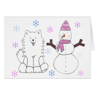 Samoyedo y muñeco de nieve felicitacion