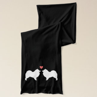 Samoyeds in Love - Dog Silhouettes with Heart Scarf