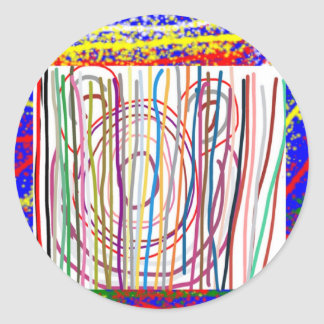 SAMPADA Kids Abstract : LINE ART Spectrum Classic Round Sticker