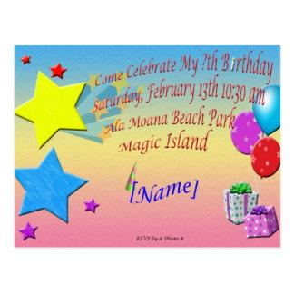 Sample Birthday Invitation Post Card