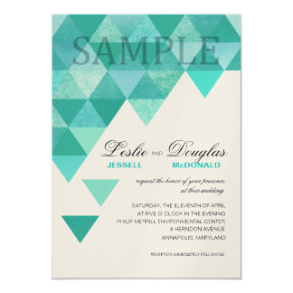 SAMPLE champagne shimmer Geometric Triangles teal 5x7 Paper Invitation Card
