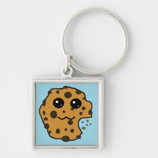 Sample chocolate chip square keychain light blue