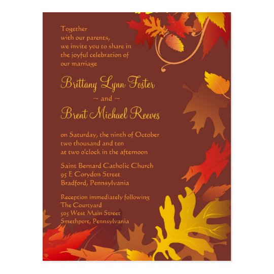 Sample invitation autumn wedding celebration postcard zazzle sample invitation autumn wedding celebration postcard stopboris Images