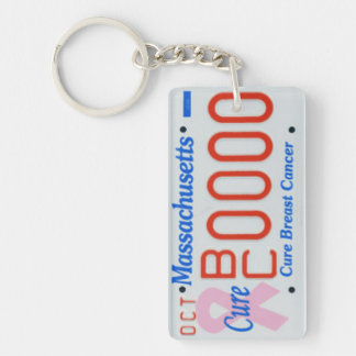 SAMPLE Massachusetts License Plate Cure for Cancer Keychain