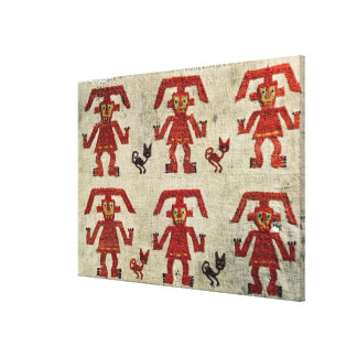 Sample of Lambayeque fabric with a figure Canvas Print