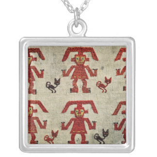 Sample of Lambayeque fabric with a figure Silver Plated Necklace