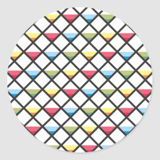 Sample of squares of triangles pattern squares classic round sticker