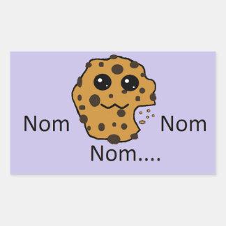 Sample rectangular Nom Nom Nom... cookie sticker. Rectangular Sticker
