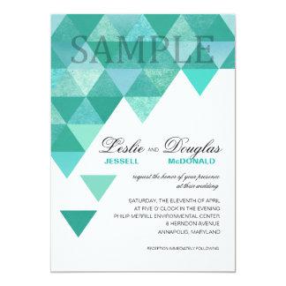 SAMPLE signature matte Geometric Triangles teal 5x7 Paper Invitation Card