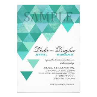 "SAMPLE signature semi-gloss Geometric Triangles 5"" X 7"" Invitation Card"