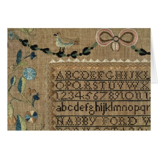 Sampler by N.Ford, 1799, New Hampshire Greeting Card
