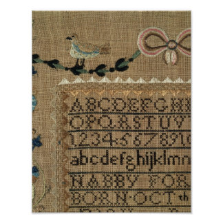 Sampler by N.Ford, 1799, New Hampshire Poster