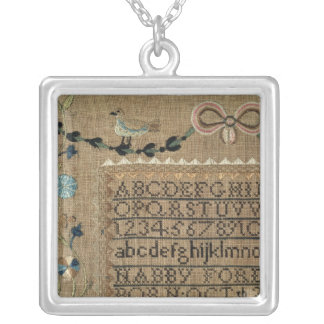 Sampler by N.Ford, 1799, New Hampshire Silver Plated Necklace