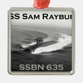 SamRayburn1.png Square Metal Christmas Ornament