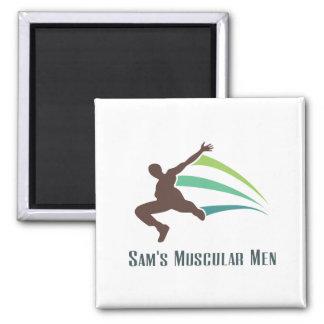 Sam's Muscular Men - Run for Sam 2 Inch Square Magnet