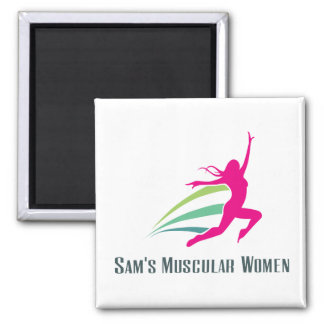 Sam's Muscular Women - Run for Sam 2 Inch Square Magnet