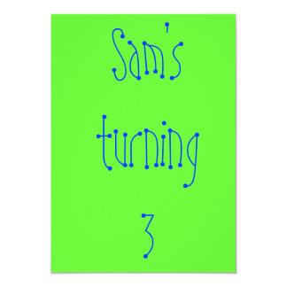Sam's turning 3 card