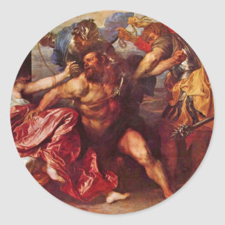 Samson And Delilah By Dyck Anthonis Van Round Stickers