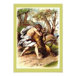 Samson And The Lion 13 Cm X 18 Cm Invitation Card