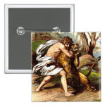 Samson And The Lion Pinback Button