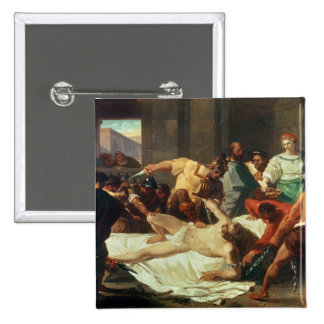 Samson betrayed by Delilah (oil on canvas) Pinback Button