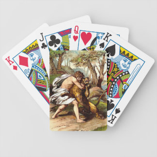 samson killing a small lion playing cards bicycle playing cards