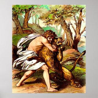 samson killing a small lion poster