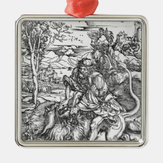 Samson slaying the lion, c.1496-98 metal ornament