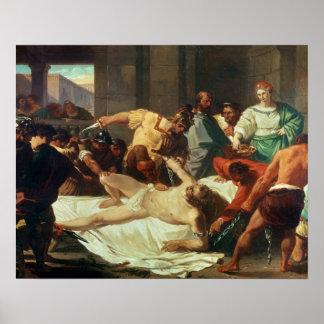 Samson traicionó por Delilah (el aceite en lona) Póster